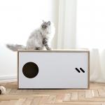 스탠다드 슬라이드 고양이 원목화장실 (White)