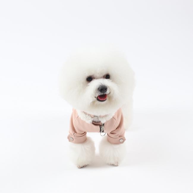 에덴숑 무스탕 라이더 자켓 파스텔 핑크